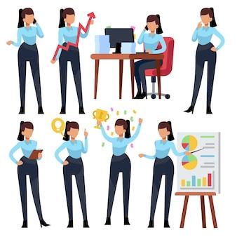 Personnages de femme d'affaires. femme d'affaires jeune professionnel travaillant au bureau. ensemble de dessin animé employé fille