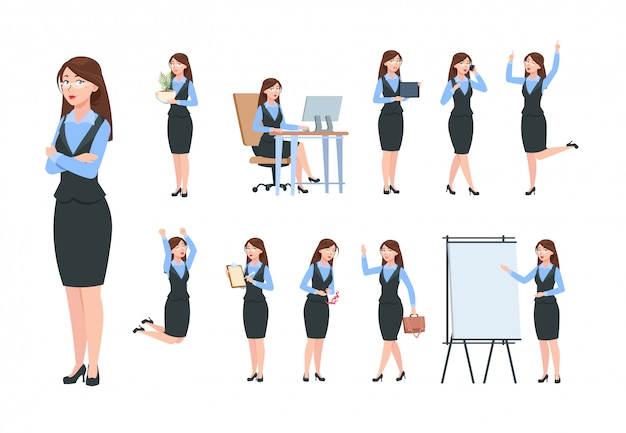 Personnages de femme d'affaires. femme professionnelle de bureau, femme dans différentes poses d'activité commerciale. ensemble de gestionnaire de dessin animé plat
