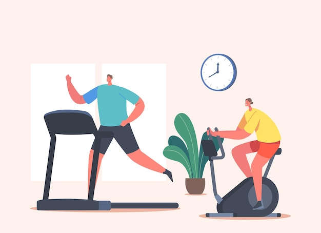 Personnages de femme et d'homme s'entraînant dans une salle de sport sur un vélo d'exercice et un tapis roulant. entraînement sportif, personnes en bonne santé faisant du cardio
