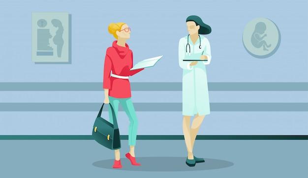 Personnages de femme et de médecin à la maternité
