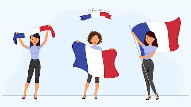 Personnages de femmes françaises avec des drapeaux de la france