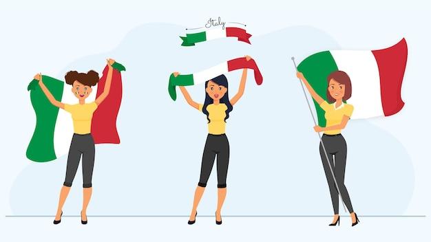 Personnages de femmes italiennes avec des drapeaux
