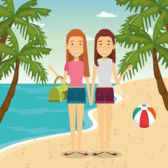 Personnages de femmes à la plage