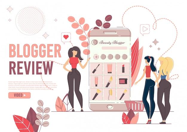 Personnages femmes avec téléphone sur la mode blogger review