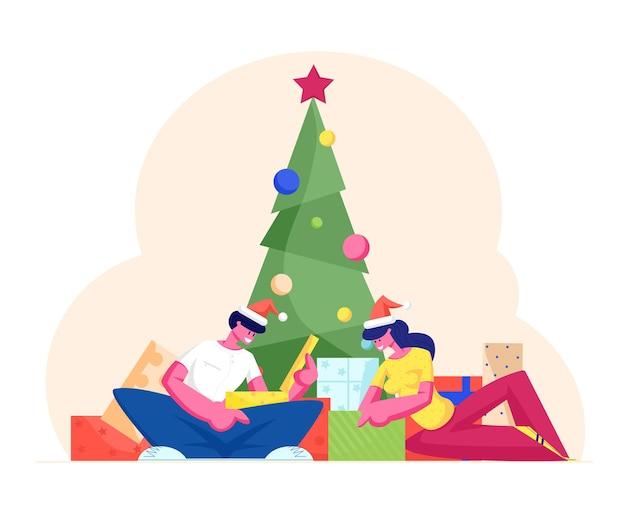 Les personnages festifs célèbrent le nouvel an et les vacances de noël. illustration plate de dessin animé