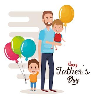 Personnages de fête des pères heureux avec des ballons d'air