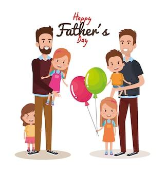 Personnages de fête des pères heureux