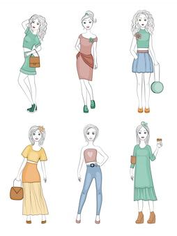 Personnages de filles de mode. mignon, jeune, femme, vogue, modèles, femme, poser, pour, retro, mode, magazine, mascotte