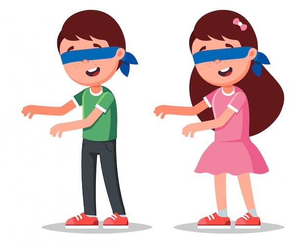 Personnages garçon et fille avec les yeux bandés. jouer à des jeux pour enfants.