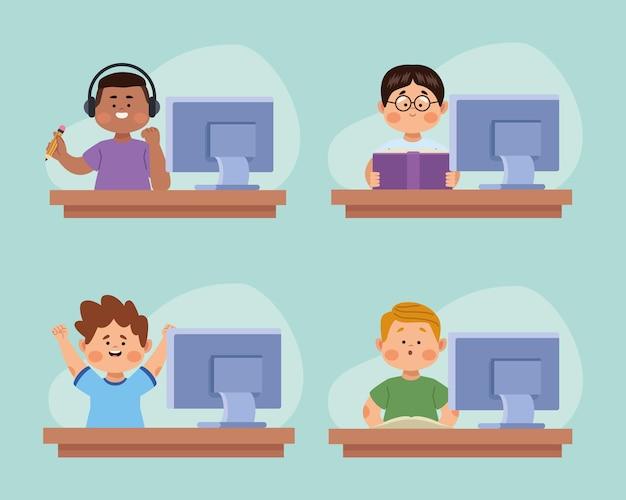 Personnages de garçons en ligne de quatre étudiants