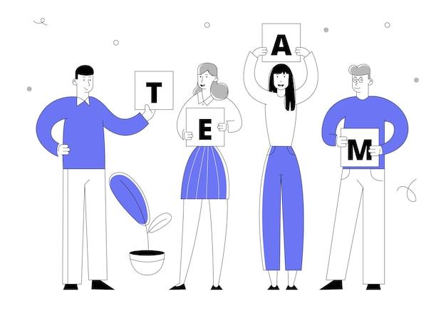 Personnages de gens d'affaires détenant une équipe de mots séparés ensemble.