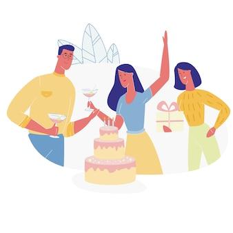 Personnages des gens heureux fête son anniversaire