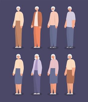 Personnages de grands-parents âgés