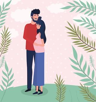 Personnages de grossesse couple amoureux mignons dans le paysage