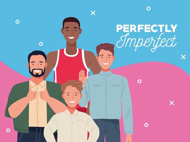 Personnages de groupe de personnes parfaitement imparfaites avec fond bleu et rose