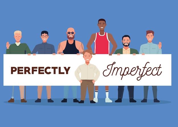 Personnages de groupe de personnes parfaitement imparfaits soulevant la bannière