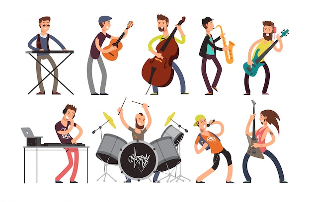 Personnages de groupes de musique rock n roll avec instruments de musique.