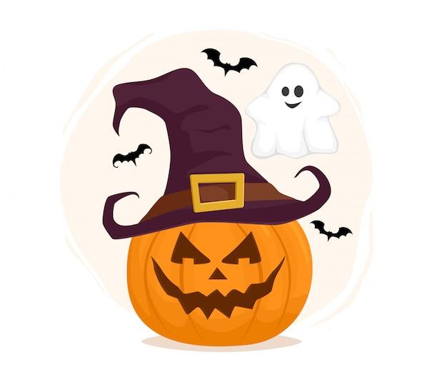 Personnages d'halloween. citrouille au chapeau de sorcière avec fantôme et chauves-souris. illustration vectorielle isolée