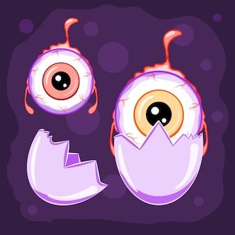 Personnages d'halloween, globe oculaire jouant avec une coquille d'oeuf, illustration vectorielle.