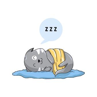 Personnages heureux de chat endormi