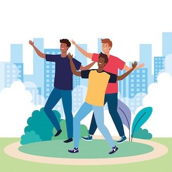 Personnages heureux, groupe de jeunes hommes, excitation d'amitié, rire joyeux du bonheur dans le paysage urbain