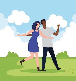 Personnages heureux, jeune femme avec homme, excitation d'amitié, rire joyeux de bonheur dans le paysage