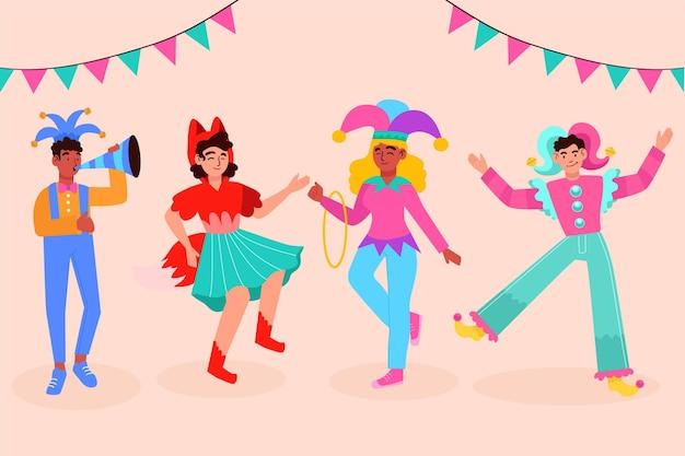 Personnages heureux portant des costumes de carnaval