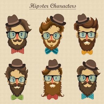 Personnages de hipster avec coiffure rétro et illustration de visages barbus