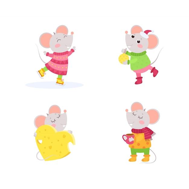 Personnages d'hiver de petites souris