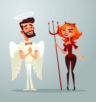 Personnages De L'homme Ange Et Femme Diable. Vecteur Premium