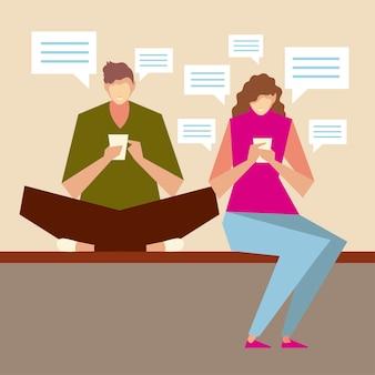 Personnages homme et femme assis à l'aide de smartphones, de personnes et de gadgets vector illustration