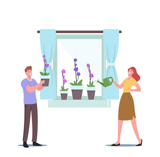 Personnages homme et femme pulvérisation et arrosage des fleurs d'orchidées phalaenopsis sur le rebord de la fenêtre appréciant le passe-temps de jardinage