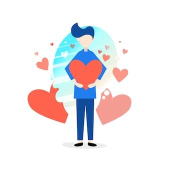Personnages d'un homme tenant un coeur