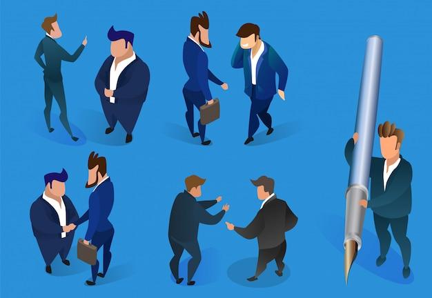 Personnages d'hommes d'affaires sur fond bleu.