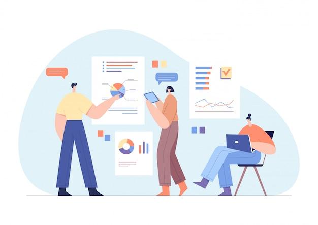 Personnages d'hommes d'affaires interagissant avec les graphiques et analysant les statistiques. concept de travail de bureau, partenariat d'équipe.