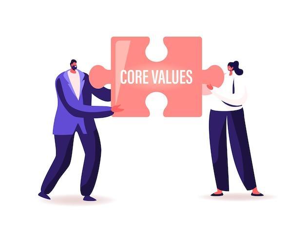 Personnages d'hommes d'affaires minuscules tenant une énorme pièce de puzzle avec l'inscription des valeurs fondamentales