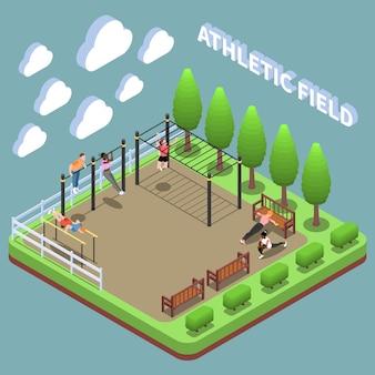Personnages humains lors d'exercices en plein air à la composition isométrique du terrain de sport sur turquoise