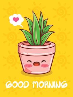 Personnages et illustrations de dessins animés de pot de plantes succulentes mignons. bonjour concept.