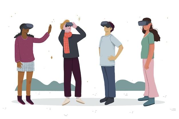 Personnages jouant à des jeux dans un casque de réalité virtuelle