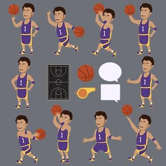Personnages de joueurs de basket-ball collecti