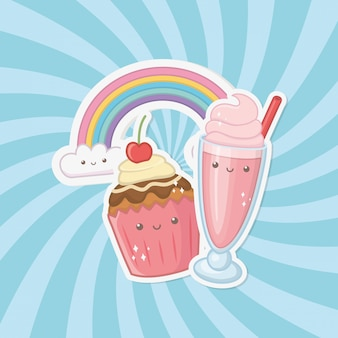 Personnages kawaii sucrés, cupcakes et bonbons