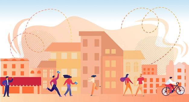 Personnages marchant dans la ville moderne à l'heure d'été