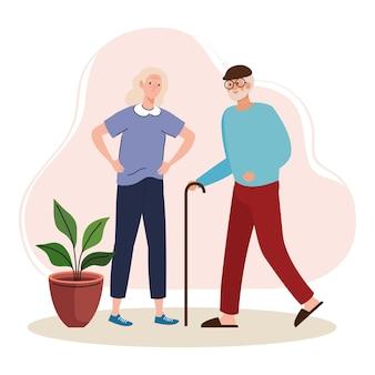 Personnages de marche de vieux couple âgé