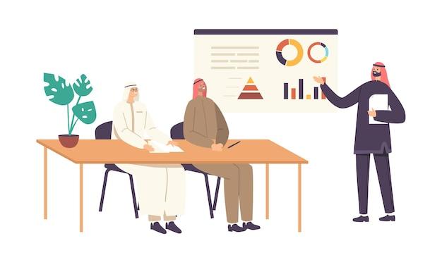 Personnages masculins arabes en tenue traditionnelle réunion au bureau. les partenaires commerciaux, les magnats discutent des affaires près du tableau blanc avec des graphiques de données pendant la négociation. illustration vectorielle de gens de dessin animé