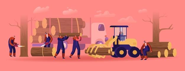 Personnages masculins de bûcheron en salopette de travail avec camion, équipement et outils d'exploitation forestière en forêt. bûcherons à l'aide d'une tronçonneuse coupant une bûche en bois. travail de travailleurs du bois. illustration vectorielle plane de dessin animé