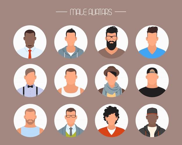 Personnages masculins avec différentes nationalités dans un style plat