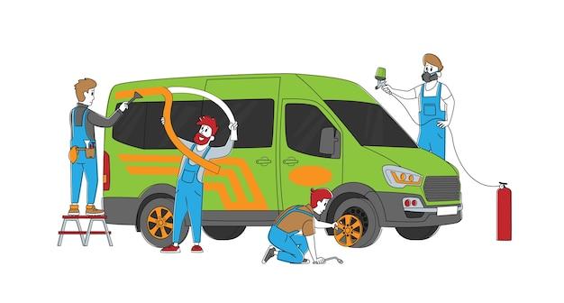 Personnages masculins faisant le réglage automatique et la modernisation dans le ruban adhésif pour salon de garage
