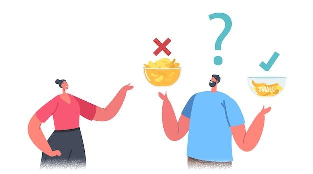 Les personnages masculins et féminins comparent les grands et les petits bols avec des croustilles. les gens effectuent de fausses astuces de marketing d'emballage avec le volume de produit dans l'emballage pour la vente au détail en magasin. illustration vectorielle de dessin animé