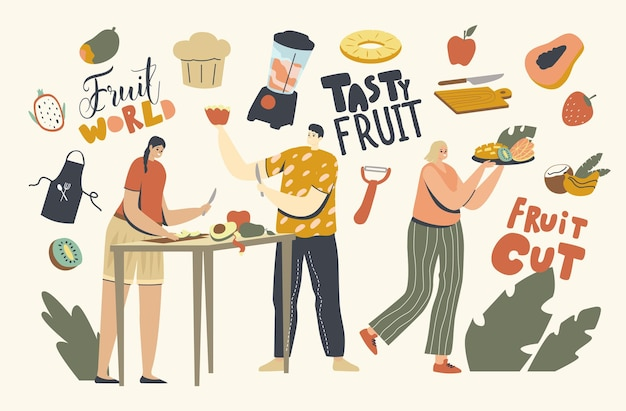 Les personnages masculins et féminins coupent des fruits différents pour la table de service. hommes et femmes peeping et curving garden et assortiment de fruits tropicaux exotiques, alimentation saine, passe-temps. illustration vectorielle de personnes linéaires
