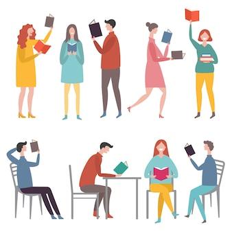Personnages masculins et féminins debout et assis et lisant des livres